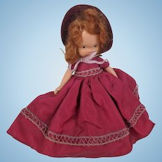 Nancy Ann Storybook Doll with Dark Red Taffeta Dress Bisque