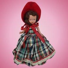 Nancy Ann Storybook Doll Bisque Plaid Taffeta Dress