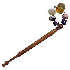 19th Century Lace Bobbin Wood with Beads