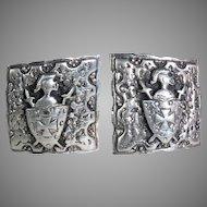 Vintage Sterling Cufflinks Medieval Knight Shield