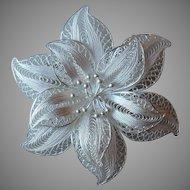 Vintage Sterling Filigree Flower Brooch