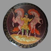 Hand-painted Russian Lacquer Brooch Two Horses