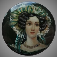 Hand-painted Russian Lacquer Brooch Woman