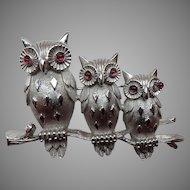 Trifari Three Owls Brooch/Pin