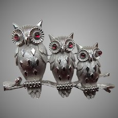 Trifari Three Owls Brooch/Pin