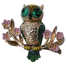 Owl Brooch by Adolph Katz for Coro 1948
