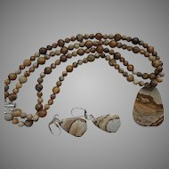 Picture Agate Necklace and Earrings