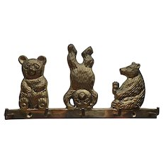 Three Bears Brass Key Holder