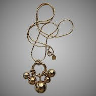 Anne Klein Long Gold-Tone Rope Necklace with Ball Pendant