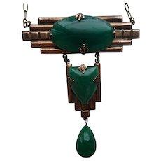 Art Deco Copper Necklace with Jade Green Stones