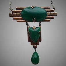 Art Deco Copper Necklace with Jade Green Stones