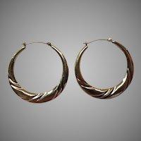 14k Gold Swirl Hoop Earrings