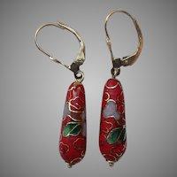 14k Gold Red Floral Cloisonné Drop Earrings