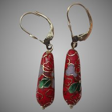14k Gold Red Floral Cloisonné Drop Earrings