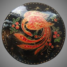 Russian Firebird Hand-painted Lacquer Brooch