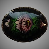 Russian Lacquer Hand-painted Floral Brooch