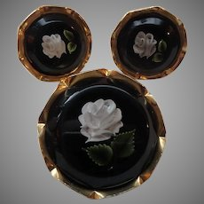 Lucite Brooch and Earrings Black with White Rose