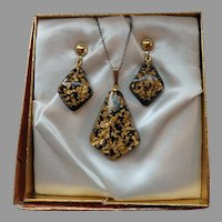 Lucite Necklace and Earrings Black with Gold Flakes, original box