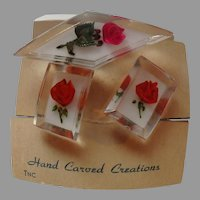 Lucite Diamond Shaped ch and Earrings Pink Roses
