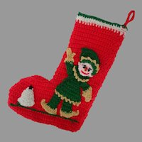 Christmas Stocking with Santa's Elf, Hand-Crocheted