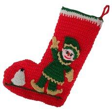 Christmas Stocking with Santa's Elf, Hand-Crocheted