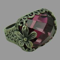 Silpada Sterling Silver Ring with Raspberry Faceted Stone Berry-Licious size 7.5
