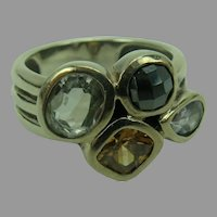 Silpada Sterling Silver Hematite Quartz CZ Ring Wine Flight size 8