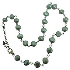 Silpada Freshwater Grey Pearl and Sterling Necklace Fresh Catch