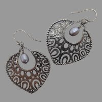 Silpada Sterling Silver and Pearl Filigree Earrings Heart