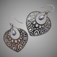 Silpada Sterling Silver and Pearl Filigree Earrings Heart