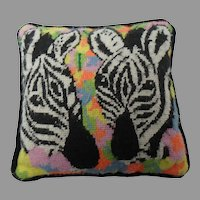 Needlepoint Pillow with Zebras