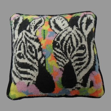 Needlepoint Pillow with Zebras