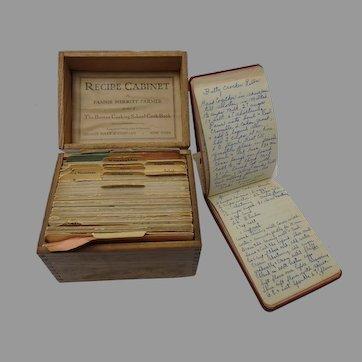 Fannie Farmer Recipe Cabinet, 1913 Recipe Box and Recipe Notebook