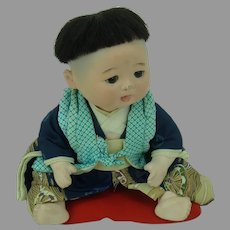Bisque Japanese Boy Baby Doll Silk Clothing 1955