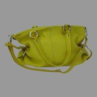 Christina Leather Shoulder Handbag Bright Yellow Italy