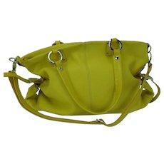 Christina Leather Shoulder Handbag Bright Yellow Italy