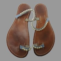 Bernardo Couture Women's Sandals Blue with Large Pearls , size L