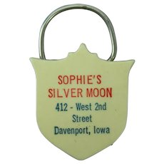 Sophie's Silver Moon Bar Davenport, Iowa Celluloid Key Ring