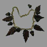 Art Deco Carved Wood Oak Leaves and Acorns Necklace