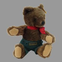 Steiff Brown Teddy Bear Mohair Jointed Trousers 9 inch
