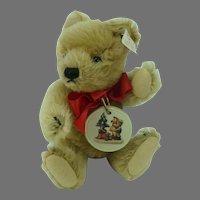 Steiff Teddy Bear Honey Mohair Jointed 6 inch with Hummel Ornament