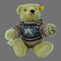 Steiff Bear Honey Mohair 1909 Replica with Sweater 8.5 inches