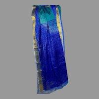 Silk Sari Turquoise Royal Blue and Metallic Gold India