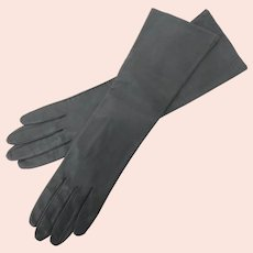 Long Gray Kid Leather Women's Gloves, size 7.5