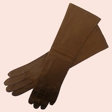 Long Brown Kid Leather Women's Gloves, size 7.5