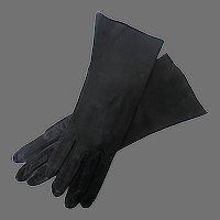 Black Kid Leather Women's Gloves, size 7