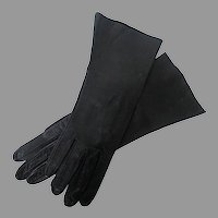 Black Kid Leather Women's Gloves, size 7
