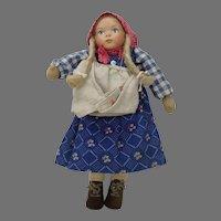German Folk Farm Girl Doll Ceramic Head Cloth Body
