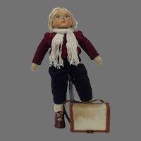 German Folk School Boy Doll Ceramic Head Cloth Body