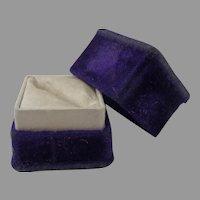 Antique Royal Purple Velvet and Satin Ring Box